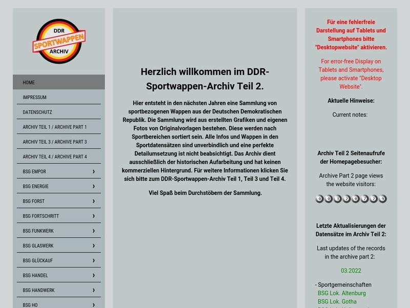 Screenshot von www.ddr-sportwappenarchiv.de